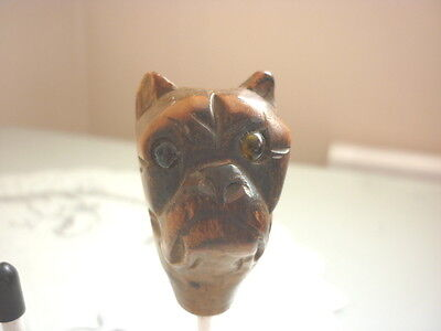 Wooden Dogs Head Walking Cane End