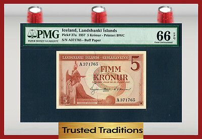 TT PK 37a 1957 ICELAND 5 KRONUR LANDSBANKI ISLANDS PMG 66 EPQ GEM UNCIRCULATED!!