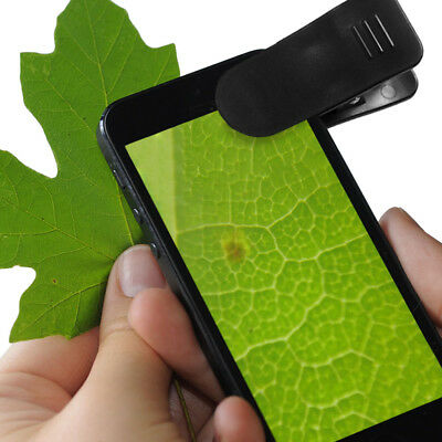 Universal Clip-On 15x Zoom Cell Phone Microscope for Science, Hobbies, Crafts