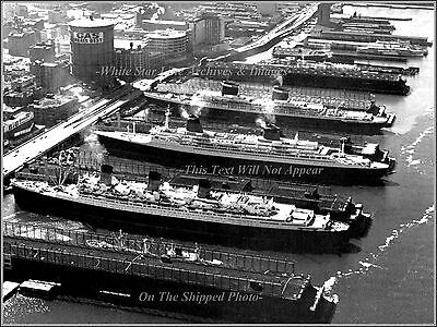 Photo The SS United States, The SS France & The RMS Queen Mary, Hudson Piers NY