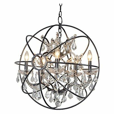 Contessa 5 Lights Chandelier in Antique Black Finish with Smoke Crystals