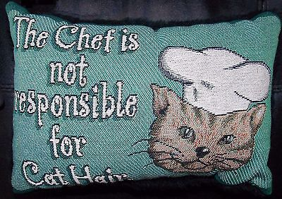 Cat Pillow Small Tapestry Throw Pillow The Chef is Not Responsible for Cat Hair