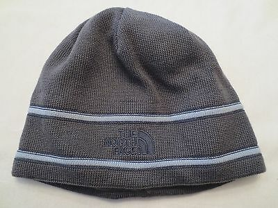 THE NORTH FACE LOGO BEANIE TNF Grey Navy Authentic New Unisex One Size NWT