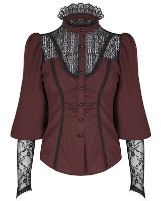 1223b0f579 Punk Rave Womens Gothic Shirt Top Red Black Steampunk VTG Victorian Lace  Blouse