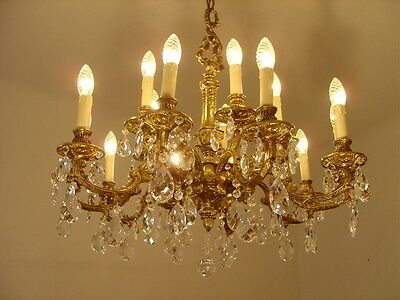 15 Light Brass French Chandelier Crystal Glass Vintage Lamp