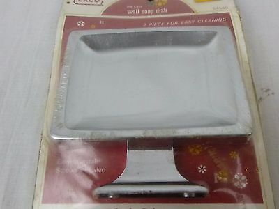 NOS VIntage Ekco 2 Pc Chrome Wall Mount Soap Dish S4600