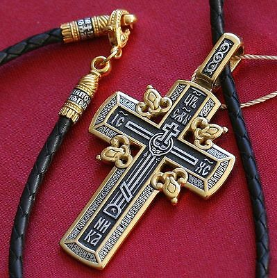 Russian Orthodox Big Golgotha Cross+Leather Cord Silver 925+999 Gold. Sale !!!