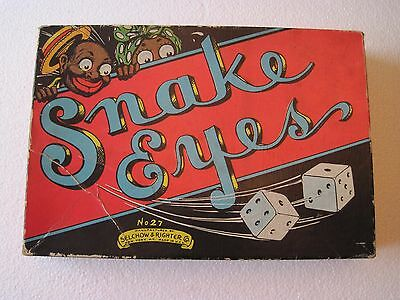 Vintage Antique 1930's Black Americana Snake Eyes Board Game Selchow Righter 27
