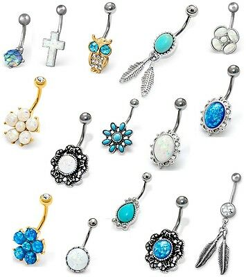 Opal Belly Bar Navel Ring Crystal Dangly Surgical Steel Body Jewellery Piercing