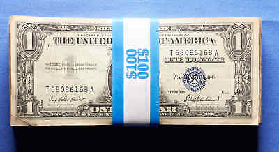 Pack of $100 Silver $1 Silver Certificates 35 & 57. Circulated. G/XF