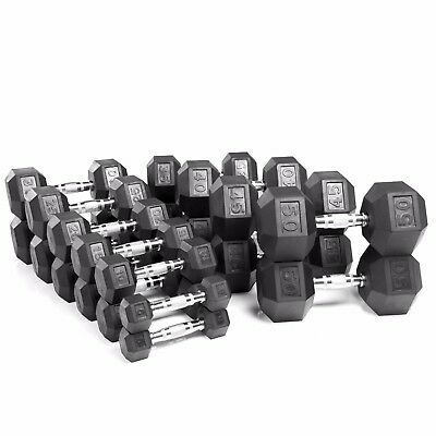 XMark Fitness 5 lb. to 50 lb. Rubber Hex Dumbbell Weight Set XM-3301-550S