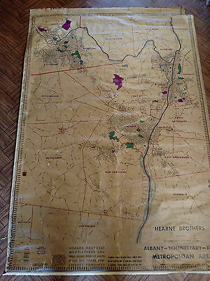 Vintage Hearne Brother Map Of Albany Troy Schenectady New York