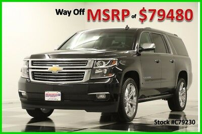 2017 Chevrolet Suburban MSRP$79480 4X4 Premier DVD Sunroof GPS Black 4WD New Navigation Heated Cooled Leather Seats 22 In Inch Wheels Loaded Captains