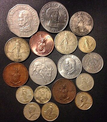 Old Philippines Coin Lot - 1944-Present - 18 Great Coins - Lot #814