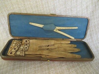 Antique Kid Leather Gloves in Case with Stretcher