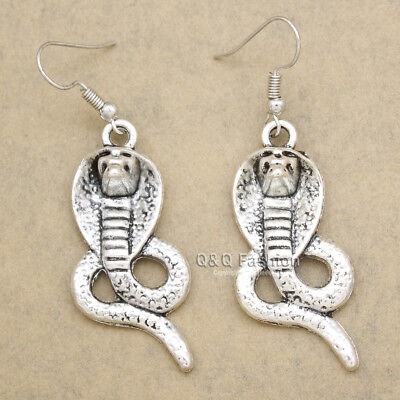 Egyptian Ancient Cleopatra Silver Cobra Snake Serpent Dangle Earrings Costume W2