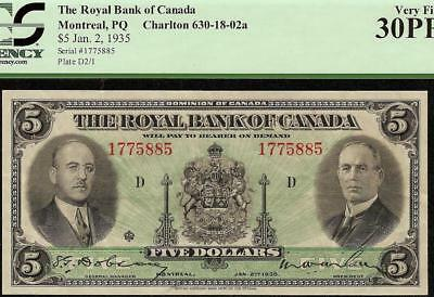 1935 $5 Dollar Royal Bank Of Canada Currency Note Canadian Paper Money Pcgs 30