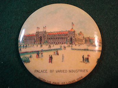 Celluloid Advertising Pocket Mirror Worlds Fair St Louis 1904 Varied Industries