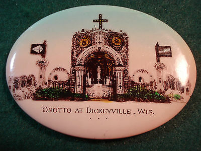 Celluloid Advertising Pocket Mirror Grotto At Dickeyville, Wis. Oval