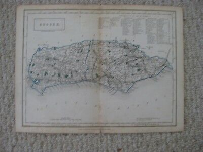 Antique 1842 Sussex County Chichester England Handcolored Map Fine Rare Nr