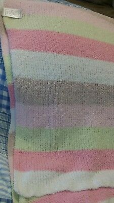 Carter's Just One Year Chenille Pastel White Pink Green Striped Baby Blanket