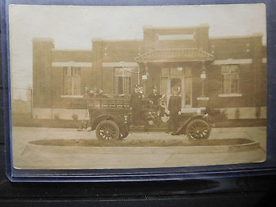 Early 1900 Real Photo Postcard, Firefighters & Car, Inwood, New York