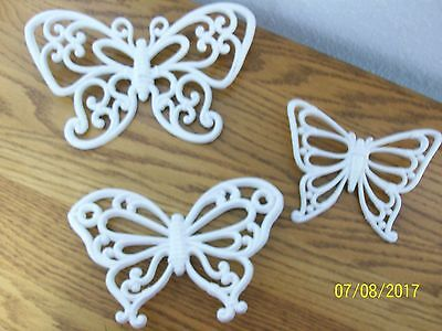 Home Interior/homco--Set Of 3--White Wicker  Wall Butterflies--Nice Accent Piece