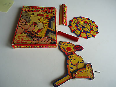 Popeye's Lucky Jeep vtg game box 1936 King Features cartoon figure toy olive oyl