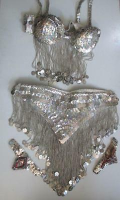 PROFESSIONAL BELLY DANCE COSTUME Silver Coins Sequins & Beads - High Quality