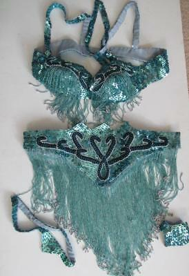 PROFESSIONAL BELLY DANCE COSTUME Turquoise Silver Sequins & Beads EUC