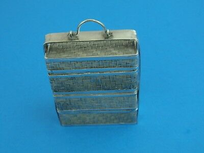 Chinese Export Wang Hing Antique Silver Miniature Wedding Basket