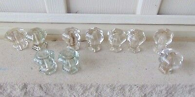 10 Assorted Antique Matching Clear Glass Furniture Drawer Pulls, Knobs