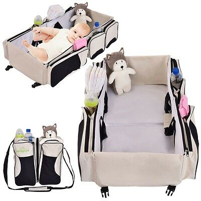 3 In 1 Diaper Bag Travel Bassinet Changing Station Baby Tote Bag Bed Portable US