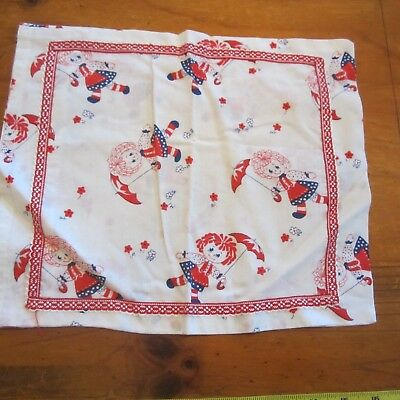 Baby Pillowslip Vintage Raggedy Doll Cotton Fabric 1960S Retro Novelty Red White