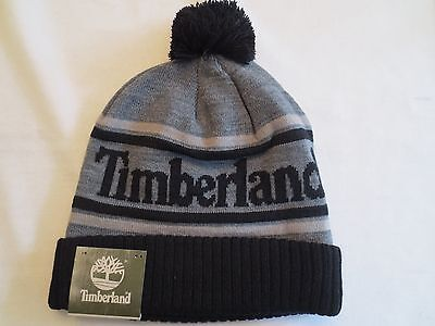 a1c3af464 TIMBERLAND COLOR BLOCKED LOGO KNIT WATCH CAP BEANIE BLACK Winter Hat NWT