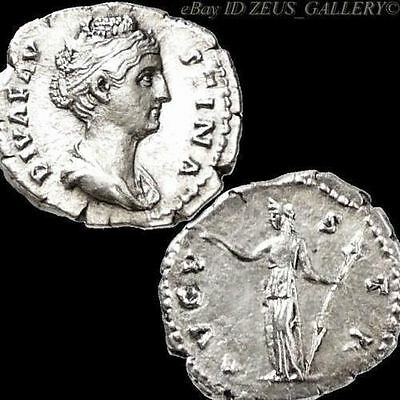 Diva FAUSTINA Sr. Ceres with Torch Ancient Roman Silver Denarius Coin aXF