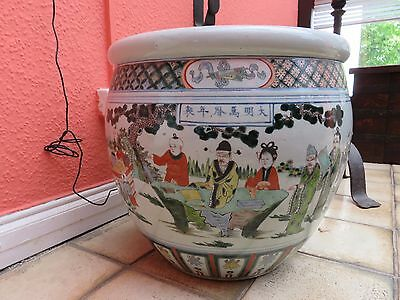 Große Chinese Wucai Fish Bowl 19/20 jh.