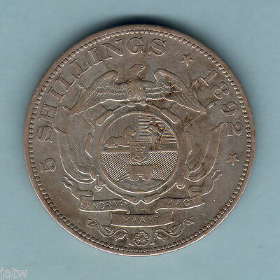 South Africa. 1892 Crown.. Double Shaft on wagon..  VF/VF+ - Trace Lustre