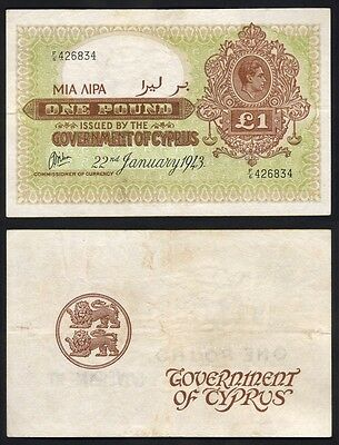 CYPRUS P-24. 1943 One Pound.. King George V1 Portrait..  RARE..  VF