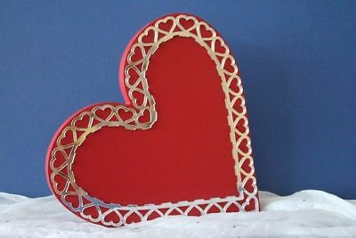 NEW Wooden Heart Mirror Silver Lace - Red
