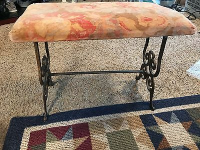 Antique Metal Vanity/Piano Bench velvet floral top