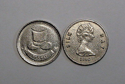 Circulated 1986 British Silk Hat Tokens