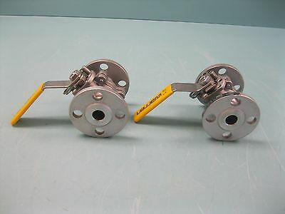 "Lot (2) 3/4"" 150# Warren SS Flanged Ball Valve 6156 Locking Handle L9 (2240)"