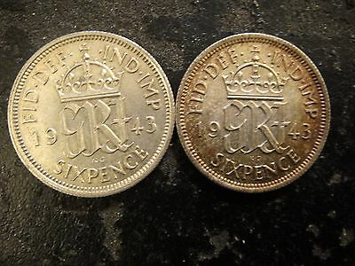 Pair (2) 1943 Great Britain Silver 6 Pence. Uncirculated.