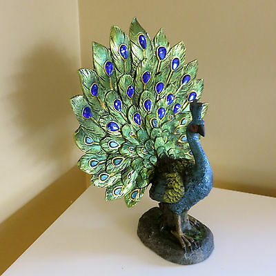 Peacock Figurine Decor colorful display  new Feather Dance Ornament Resin 10 in.