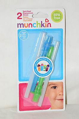 Pack/2 Spill-Proof REPLACEMENT Straws/Valves Munchkin Sippy Cups GREEN/BLUE