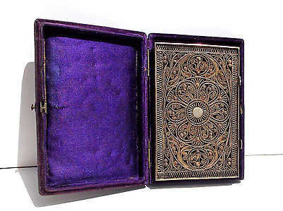 Rare Georgian Solid Silver Gilt Filigree Card Case With Original Velvet Box