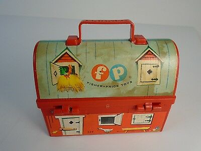 Vintage 1962 Fisher Price Mini Toy Lunch Box Pail and Thermos Red Barn Blue Silo
