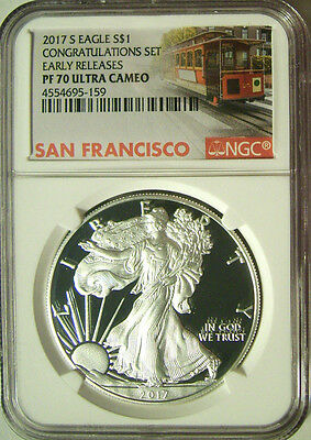 2017-S American Silver Eagle Congratulations Set $1  NGC PF 70 ER  Trolley Label