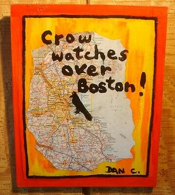 Listed artist Dan C signed Outsider Folk Art Painting Crow Watches Over Boston